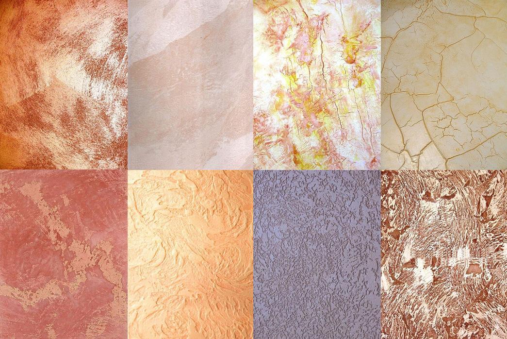 Примеры различных видов фактурной краски