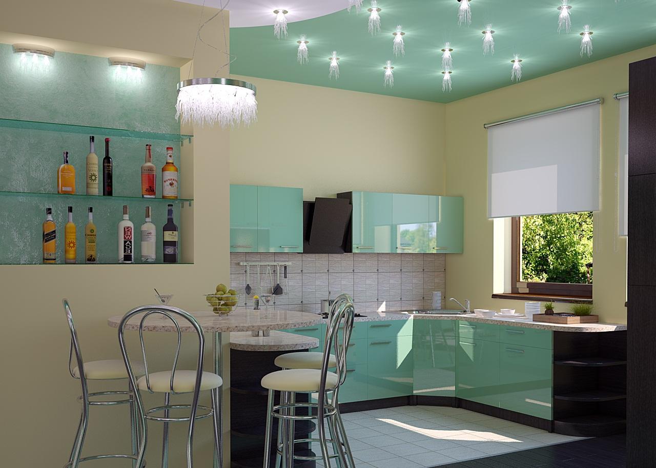 Правильное зонирование кухни освещением