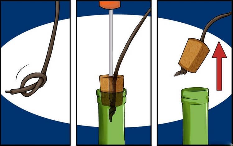 Открытие бутылки при помощи шнурка
