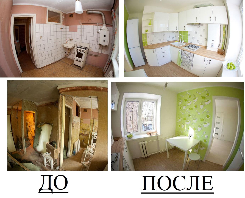 Белый угловой гарнитур и зеленые обои визуально расширили комнату