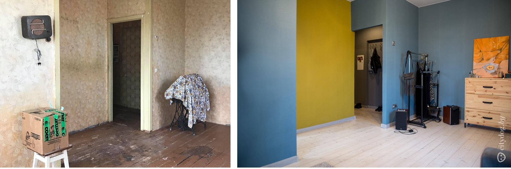 Контрастные стены визуально расширяют пространство