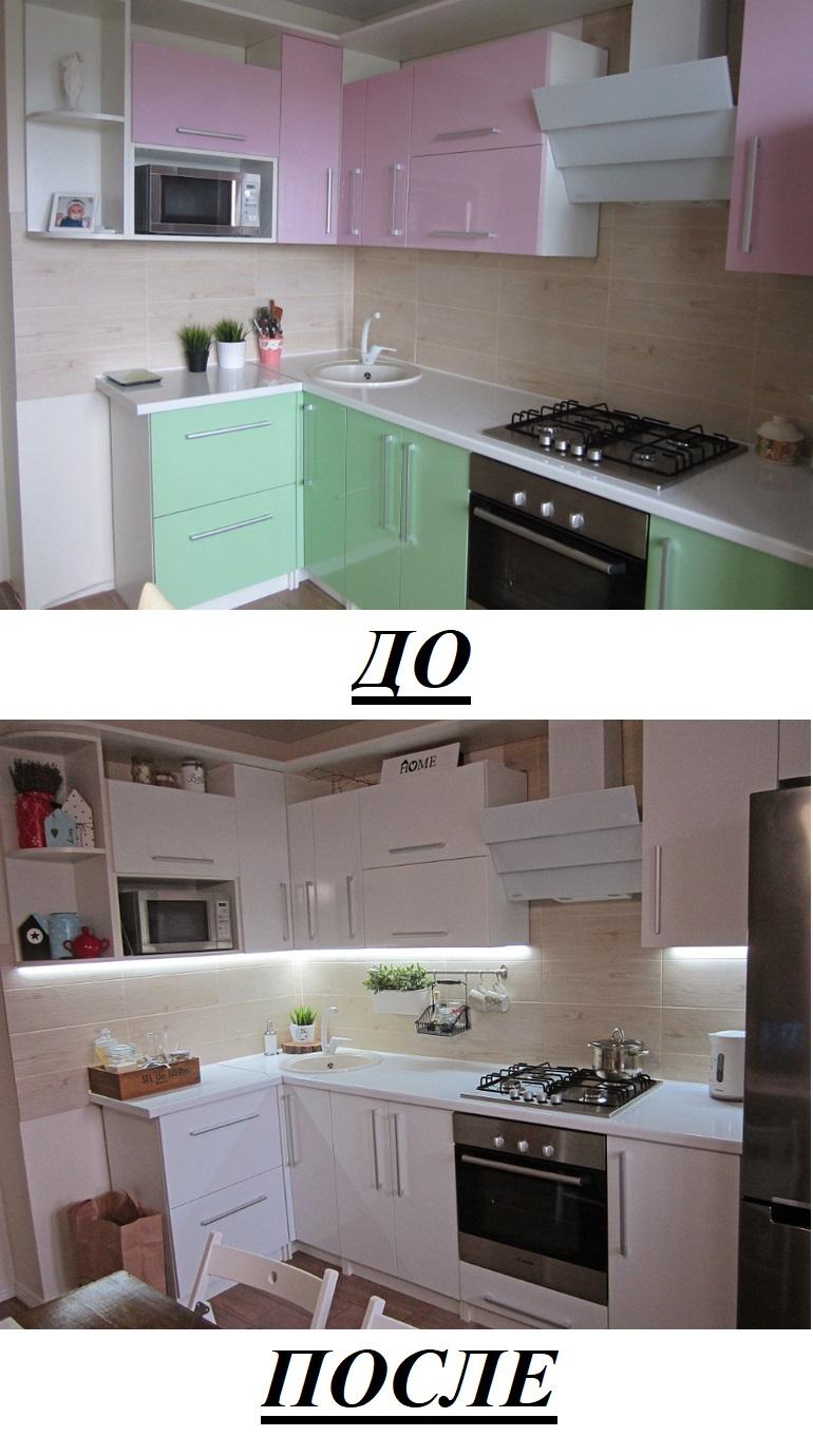 Белые фасады расширили кухню без ремонта