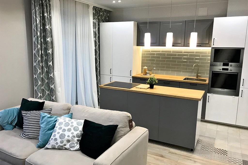 Дизайн кухни-гостиной 20 кв м в современном стиле