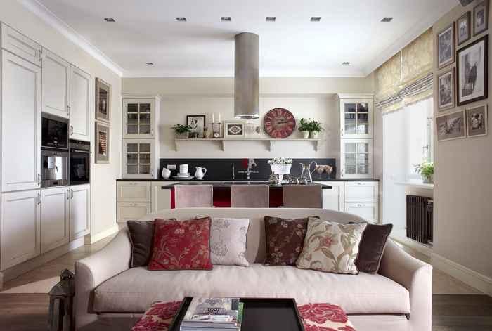 Кухня-гостиная 20 кв м в современном стиле