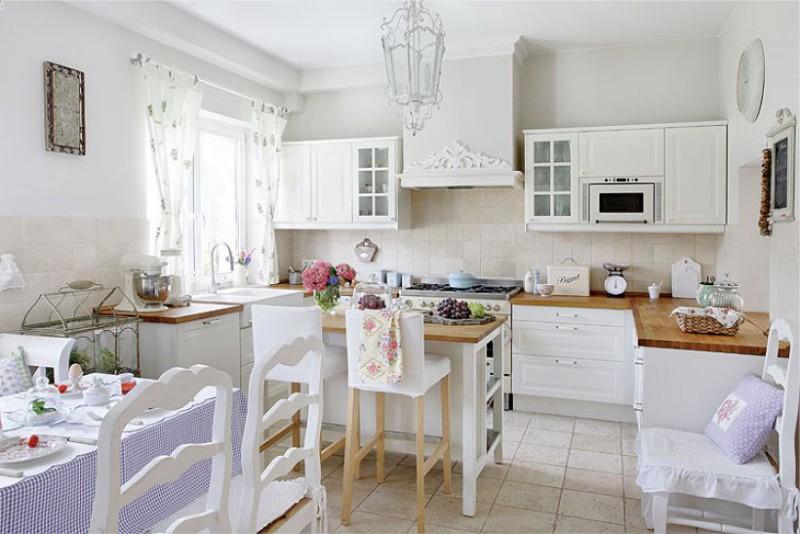Кухня-гостиная 20 кв м в стиле прованс