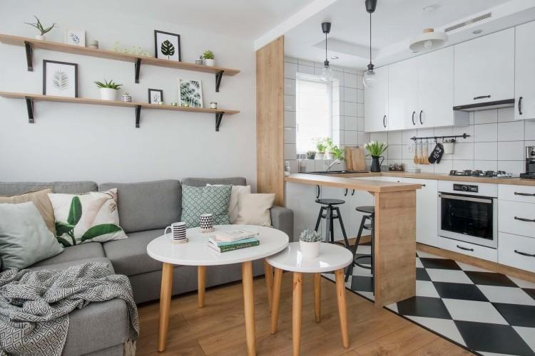 Кухня гостиная 20 кв м в скандинавском стиле
