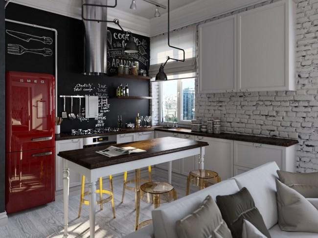 кухня-гостиная 20 кв м в стиле лофт
