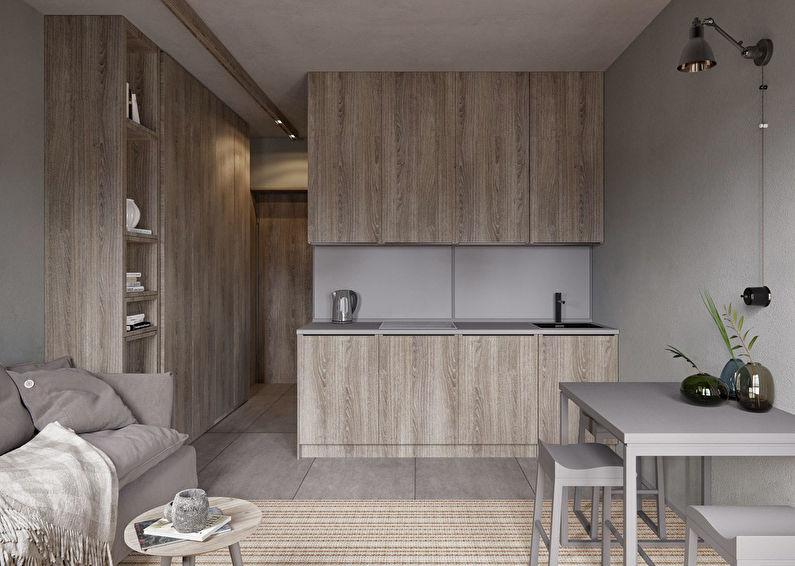 Минимализм в интерьере кухни гостиной 20 кв м