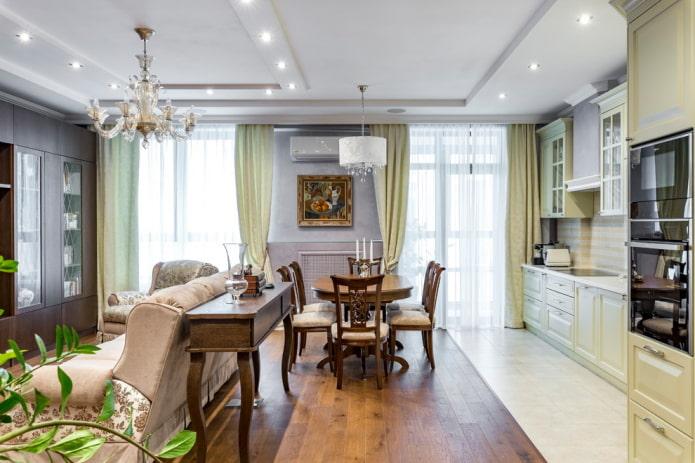 интерьер кухни гостиной 20 кв м в стиле классика