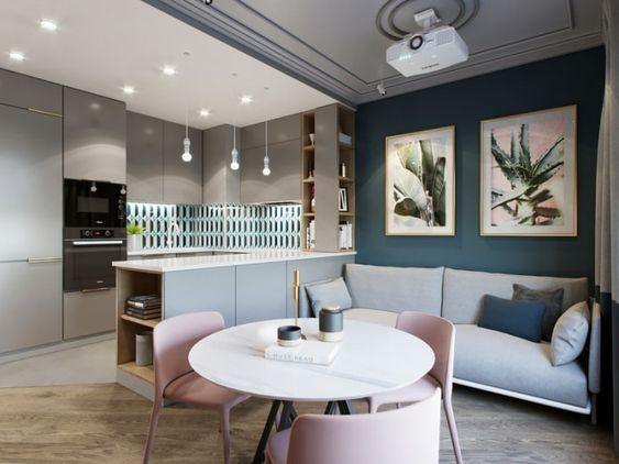 П-образная планировка квадратной кухни гостиной
