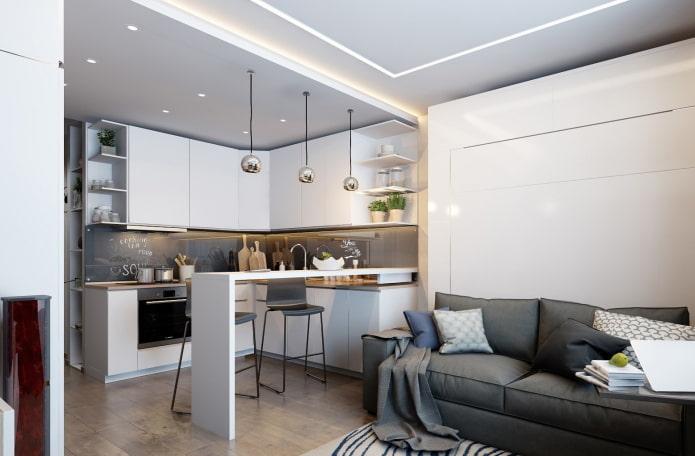 кухня-гостиная 20 кв м в серых тонах