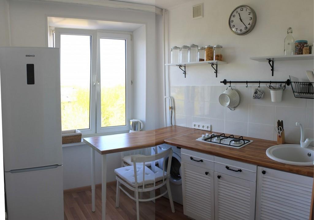 Оригинальное решение для оформления обеденной зоны на маленькой кухне