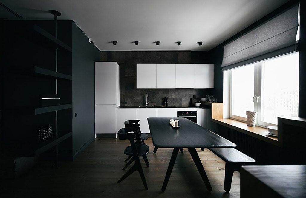 дизайн черно-белой кухни в стиле минимализм