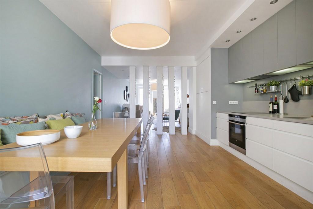 Бело-серая кухня в стиле минимализм