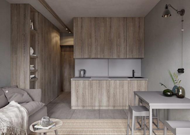 Серо-деревянная кухня в стиле минимализм